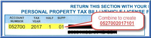 Personal property tax without supplement sample bill