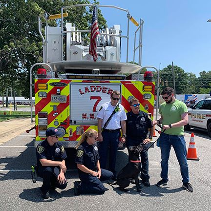Newport News Fire Department with dog
